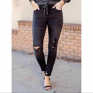 🆕 RARE Hidden Jeans Black Grinded Frayed Skinny
